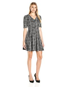 Julian Taylor Womens Elbow Sleeved VNeck Textured Knit Dress BlackWhite 16 *** You can get additional details at the image link.