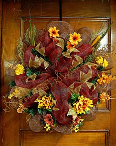 Fall Thanksgiving Mesh Wreath by SouthernSweetcakes on Etsy, $55.00