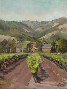 """Sonoma Vinyard"" - Original Fine Art for Sale - © Elaine Hahn"