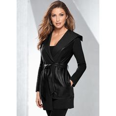 d2f73888af8e8 Venus Women s Faux Leather Belted Jackets  amp  Coats ( 42) ❤ liked on  Polyvore