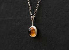 Cabochon Citrine Silver Necklace  Citrine Pendant  by williamwhite