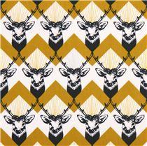stag Chevron yellow echino Decoro cotton sateen fabric