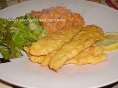 Cinco sentidos na cozinha: Tiras de pescada panadas com arroz de tomate e fei...