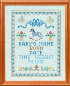 Rocking Horse Cross Stitch Birth Sampler Kit: Amazon.co.uk: Kitchen & Home