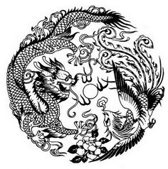A paper-cut Chinese Dragon and Phoenix picture. Images & Pictures of Chinese Dragon and Phoenix Tattoo Dragon And Phoenix, Phoenix Drawing, Phoenix Art, Japanese Phoenix Tattoo, Chinese Culture, Chinese Art, Phenix Tattoo, Phoenix Chinese, Tibetan Dragon