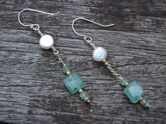 Roman Glass & Freshwater Pearl Drop by MyPrettyLilCreations