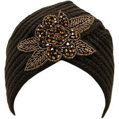 Brown Winter Knit Turban Beanie Hat With Beaded Flower ($20) ❤ liked on Polyvore featuring accessories, hats, brown, skull beanie, beanie cap hat, bead caps, beanie cap, long beanie hats and turban hat