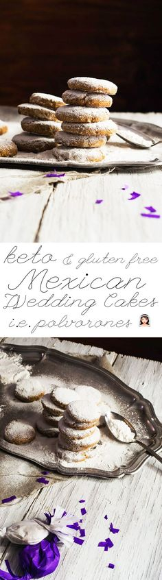 Gluten Free & Keto Mexican Wedding Cakes (i. Russian Tea cakes or Polvorones) Gluten Free & Keto Mexican Wedding Cakes (i. Russian Tea cakes or Polvorones) Mexican Wedding Cookies, Russian Tea Cake, Banting Recipes, Scd Recipes, Sweets Recipes, Recipies, Keto Cookies, Shortbread Cookies, Tea Cakes