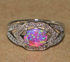 pink-fire-opal-Cz-ring-gemstone-silver-jewelry-Sz-7-75-cocktail-vintage-style-AA