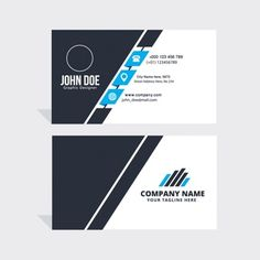Simple blue, black and white business card Free Vector Free Printable Business Cards, Free Business Cards, Business Card Design, Beauty Business Cards, Marketing Words, Presentation Cards, Bussiness Card, Creative Jobs, Corporate Photography