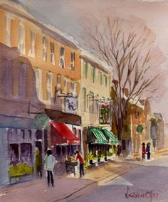 Shopping in Newburyport Watercolor 6x7 copyrighted 2011 Nita Leger Casey, painting by artist Nita Leger Casey