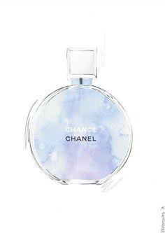 Chanel Chance Purple and Blue Perfume Wall Art