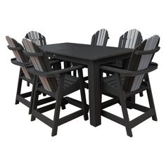 Outdoor Highwood Hamilton Recycled Plastic 7 Piece Rectangle Counter Height Adirondack Patio Dining Set - AD-CNA37-LUX