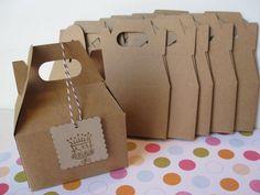 5 Kraft Mini Gable Boxes - Gift, Favor, DIY