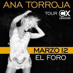 Ya mañana llega Ana Torroja con su tour #Conexion al El Foro Antiguo Palacio Jai Alai - Oficial  Precios y boletos en http://tjev.mx/1lKYaCr  #Eventos #Conciertos