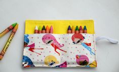 Super girls crayon roll, holds up to 12 crayons. Pink, white, blue, red, black. 4.5''x6''. Girls gift idea. Ready to ship crayon case.