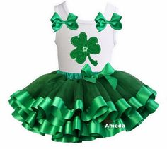 Green Satin Trimmed Tutu Shamrock St Patrick's Day Dress Outfit