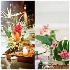 montage photo decoration de table mariage hawai Wedding Table, Our Wedding, Dream Wedding, Graduation Flowers, Tropical Centerpieces, Hawaiian Decor, Hawaii Wedding, Marry Me, Floral Arrangements
