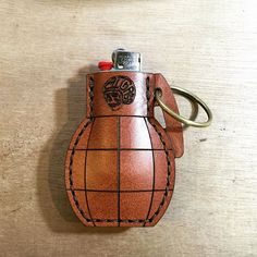 Handcrafted Bic lighter case. Perfect Bic mini lighter. Also work as key chain. #bigassgoods #handcrafted #bic #lighter #grenade