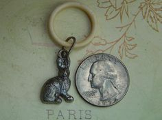SOLD Antique bunny charm ring for doll. Now available in my Ruby Lane store: Kim's Doll Gems