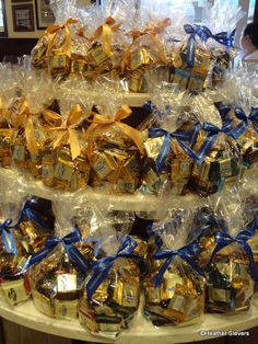Gift Bag Ideas: clear cellophane bags with candies inside