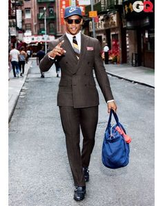 Awesome Black Mens Fashion Victor Cruz in Pinstripe Suits Check more at http://24store.ml/fashion/black-mens-fashion-victor-cruz-in-pinstripe-suits/