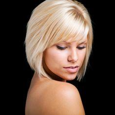 Blonde hair - Long bob with bangs Long Bob With Bangs, Short Hair With Layers, Short Hair Cuts, Short Hair Styles, Short Wavy, Short Blonde, Long Bob Hairstyles, Hairstyles With Bangs, Pretty Hairstyles