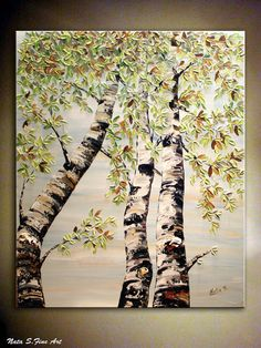 """Silver Birches ORIGINAL Painting Landscape Contemporary  Painting Impasto Palette Knife.Birch Tree Painting 36""""x 30"""" ..... by Nata S."""