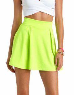 Neon Pleated High-Waisted Skater Skirt: Charlotte Russe