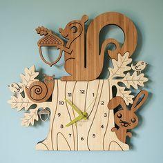 Squirrel Tree Stump Bamboo Wall Clock