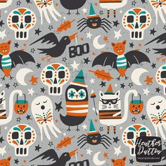 Halloween Party - Grey Large Scale custom fabric by heatherdutton for sale on Spoonflower Pink Halloween, Halloween 2020, Halloween Prints, Halloween Outfits, Halloween Party, Halloween Backgrounds, Halloween Patterns, Pattern Illustration, Hallows Eve