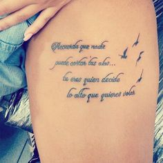 """1,549 Likes, 15 Comments - cute girly tattoos (@_cutegirlytattoos) on Instagram: """"@rossmaryquijada's tattoo  in Spanish in English it means """"remember that nobody can cut your…"""""""