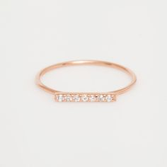 Vale - Rose Gold 7 Diamond Tiny Pavé Bar Ring