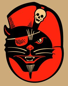 Vintage Halloween Decoration, Pirate Black Cat