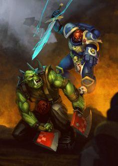 Ультра превозмогает орков,Wh Other,Warhammer 40000,warhammer40000, warhammer40k, warhammer 40k, ваха, сорокотысячник,Wh Песочница,фэндомы,Space Marine,Adeptus Astartes,Imperium,Империум,Orks