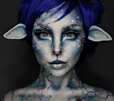 Artist Ellie35x: This blue-hued deer-like face makeup design is brilliant. Can't stop staring at it!!