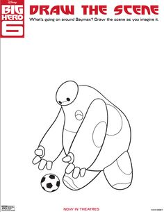 BIG HERO 6 Coloring Pages and Activity Sheets What's going on around Baymax? Draw the scene as you imagine it. Disney Big Hero 6, Heros Disney, Disney Diy, Disney Crafts, Tarzan, Baymax Drawing, Big Hero 6 Party Ideas, Jouer Au Foot, Disney Movies Anywhere