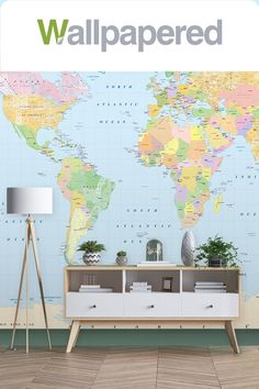Cheery and delightful, the Colourful World Map with Antarctica wallpaper makes a perfect feature wall in any room. An educational tool as well as a beautiful wall decoration, this design will enrich your interior space and bring your walls to life. World Map Design, World Map Wallpaper, Antarctica, Beautiful Wall, Designer Wallpaper, Timeless Design, Wall Murals, Wall Decor, Colours
