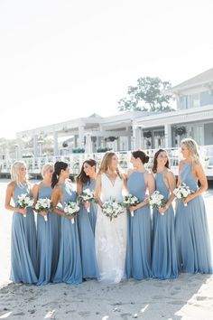 Wonderful Perfect Wedding Dress For The Bride Ideas. Ineffable Perfect Wedding Dress For The Bride Ideas. Dusty Blue Bridesmaid Dresses, Dusty Blue Weddings, Beach Wedding Bridesmaids, Taupe Bridesmaid, Azazie Bridesmaid Dresses, Bridesmaid Bouquets, Bridesmaid Outfit, Vintage Weddings, Romantic Weddings