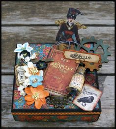 Rodriguez Designs: Altered Steampunk Spells }The Scrapbooking Studio Altered Cigar Boxes, Altered Tins, Altered Art, Handmade Crafts, Diy And Crafts, Paper Crafts, Mixed Media Boxes, Cigar Box Crafts, Exploding Box Card