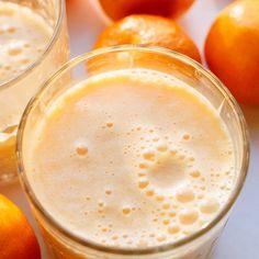 Clementine Sunshine Smoothie Recipe Beverages with clementines, ice, yogurt, sea salt, frozen banana, ground turmeric, honey, pure vanilla extract