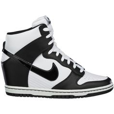 Nike Dunk Sky Hi ($110) ❤ liked on Polyvore featuring shoes, sneakers, shoe club, women, nike footwear, black and white sneakers, nike trainers, wedge heel sneakers and nike sneakers