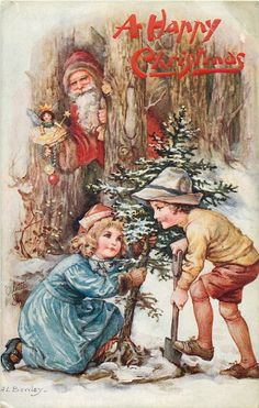 ■ Tuck DB... Santa watches two children dig up tree | artist: A.L.Bowley (first used 20/12/1913)