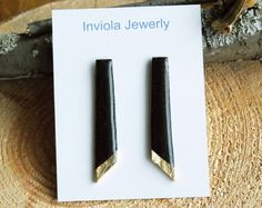 Black long rectangle gold leaf clay studs by InviolaJewerly