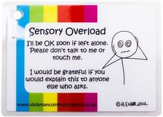 One of many phrases to keep on your keychain. Sensory Overload keyring card - Stickman Communications