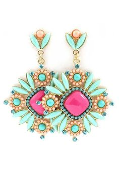 Fucshia + Mint Boho Earrings