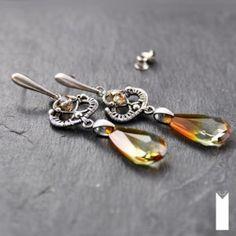 ŁZY ZACHODZĄCEGO SŁOŃCA | Monika Kraczek  Unique silver earrings with Swarovski crystals. Shop: www.monikakraczek.com