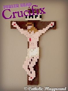 Perler Bead Crucifix Pattern    So easy!  Just print the template and slip it under your perler or hama bead board and start beading!