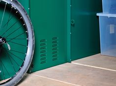 Metal Bike Storage shed & bike maintenance garage. Secured by Design - Asgard Bike Prices, Car Racks, Bike Equipment, Bike Shed, Metal Floor, New Motorcycles, Steel Panels, Bike Store, Old Bikes