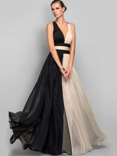 Color Block Sleeveless V-Neck Women's Maxi Dress